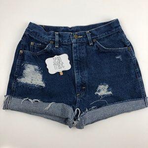 Vintage Lee High Waist Distressed Jean Shorts